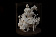 <h5>Farewell Carousel III</h5><p>Plaster, fabric, wood, acrylic, 23 ½ x 20 x 20″  (60 x 51 x 51cm)</p>