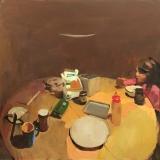 "<h5>Lou à Table</h5><p>Oil on board, 19¾"" x 19¾"" (50.25 x 50.25cm)</p>"