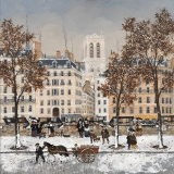 """<h5>Bouquinistes, Quai des Célestins</h5><p>Acrylic on board, 19 ½ x 19 ½"""" (50 x 50cm)</p>"""
