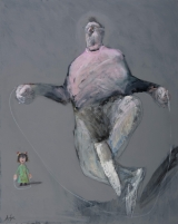 """<h5>Jump rope (technic)</h5><p>Mixed media on canvas, 36"""" x 29"""" (91.5 x 73.6cm)</p>"""