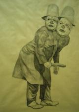 """<h5>Goodie Baddie</h5><p>Charcoal on brown paper, 46 x 35"""" (117 x 90cm)</p>"""