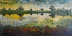 "<h5>Yellow blurbing ultramarin</h5><p>Acrylic and oil on canvas, 31½"" x 63"" (80 x 160cm)</p>"