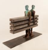"<h5>Enfados</h5><p>Bronze, wood, and iron, 27½ x 10 x 31½"" (70 x 25 x 80cm)</p>"