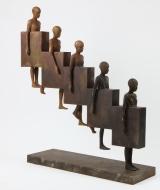 "<h5>Downstair</h5><p>Bronze and iron, 34½ x 31½ x 8¾"" (88 x 80 x 22cm)</p>"