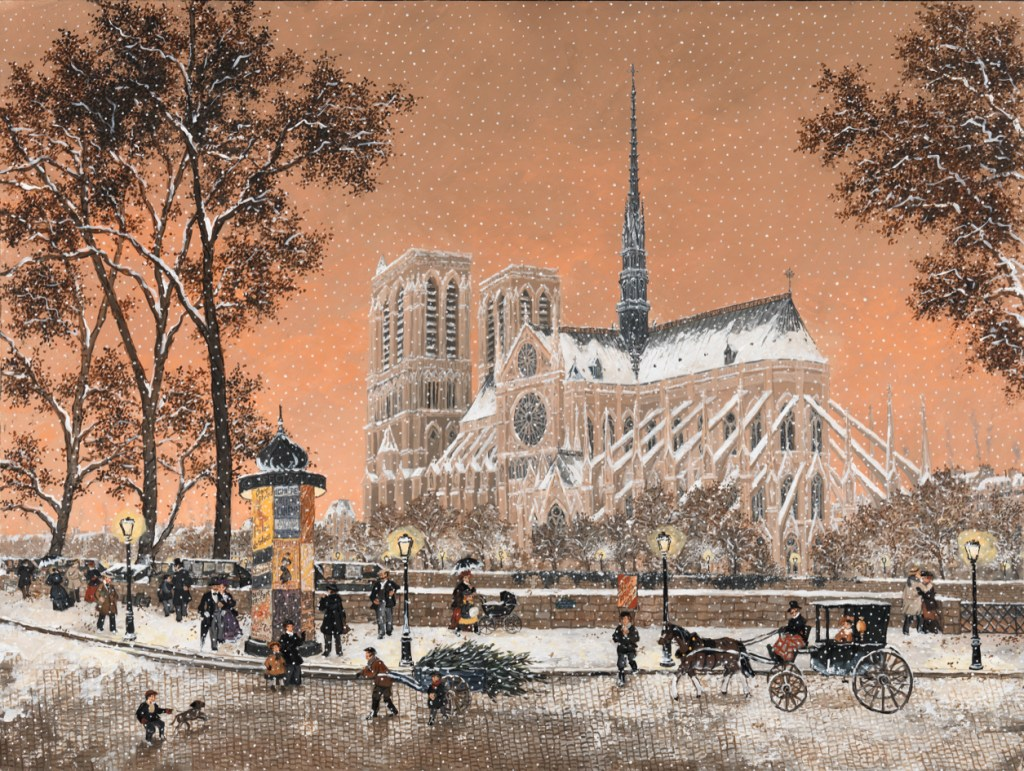 Oil painting of Notre Dame Cathedral in winter by Fabienne Delacroix titled Premiere Neige sur Notre Dame.