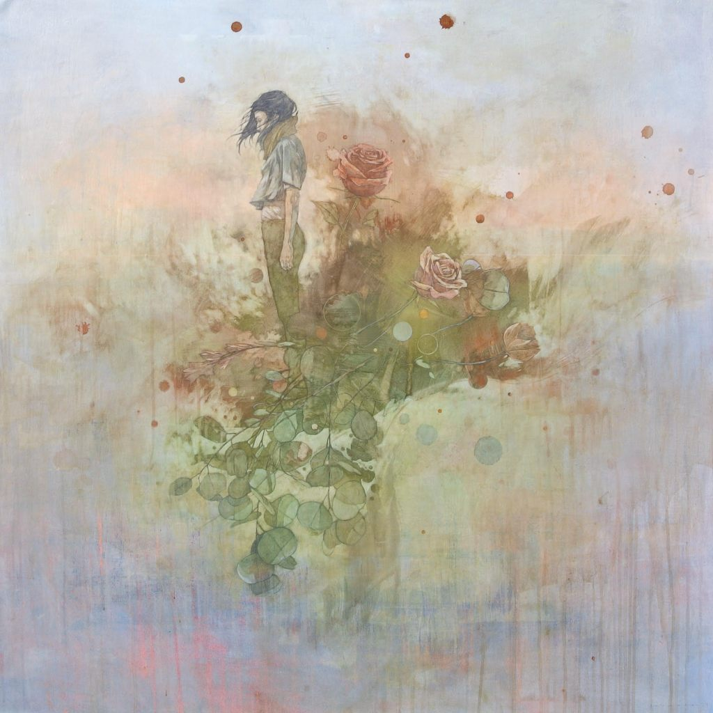 Acrylic on canvas painting of a girl standing in profile abstracted by a spray of roses and greenery by Federico Infante titled Crimson.