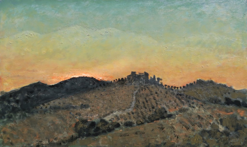 Oil on canvas painting of Spain's rolling hills of olive trees at sunset by Albert Hadjiganev titled Soir Dans les Collines.