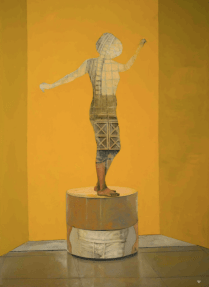 Oil on canvas painting of a yellow background and the silhouette of a woman filled in with an architectural scene by Patrick Pietropoli titled Acrobates