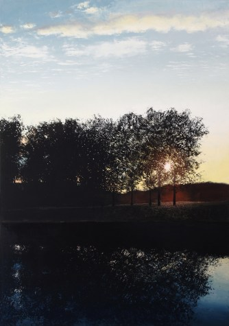 Oil on canvas painting of the sun peeking through the trees and reflecting across the water by Benoît Trimborn titled Au Bord de l'Eau.