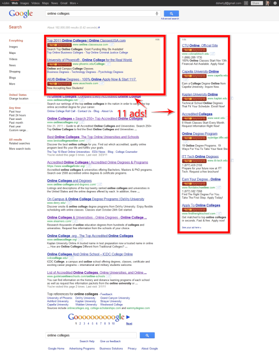 Google Search Results full of ads