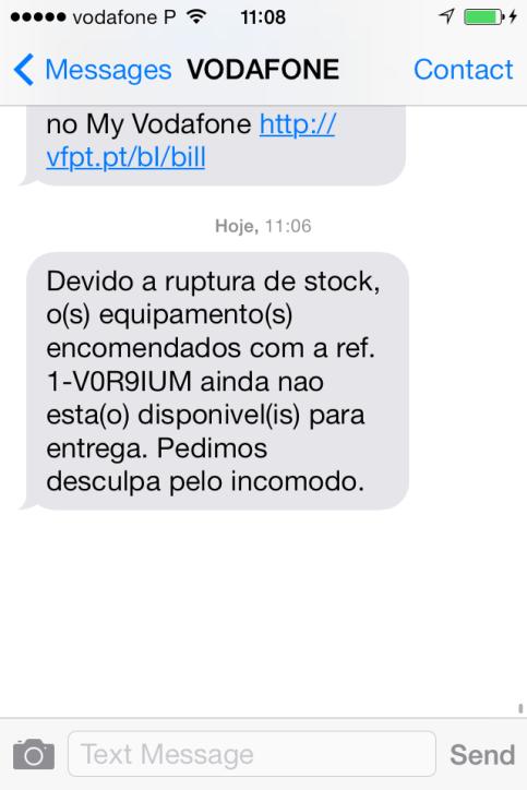 Vodafone ruptura de stock desculpa