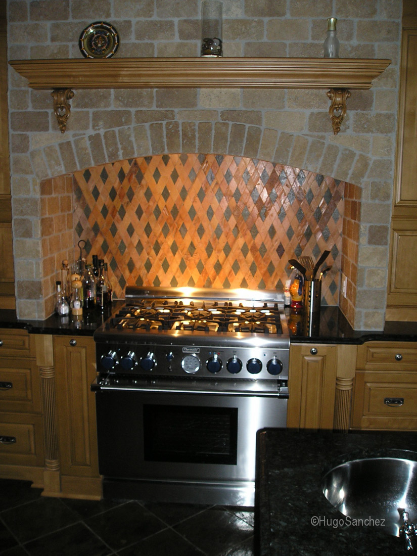 tile backsplash for kitchen spotlights diamond pattern - céramiques hugo sanchez inc