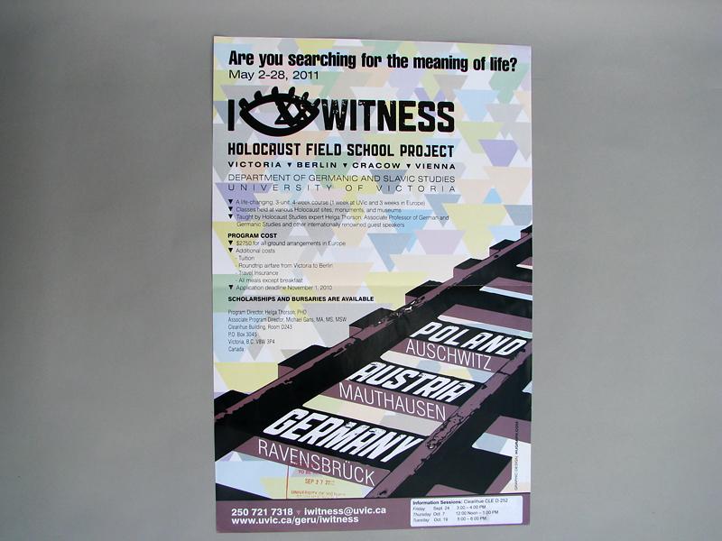 Detalle cartel publicitario para un viaje de estudios a lugares del Holocausto Nazi para el Departamento de Estudios Germánicos de la Universidad de Victoria en BC Canadá.