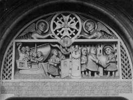 The Tympanum, French Church, Soho Square, London. Edward VI hands his Charter to the Refugees in 1550