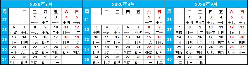 帶周數日歷:2020年萬年歷周數查詢(農歷庚子年、鼠年)