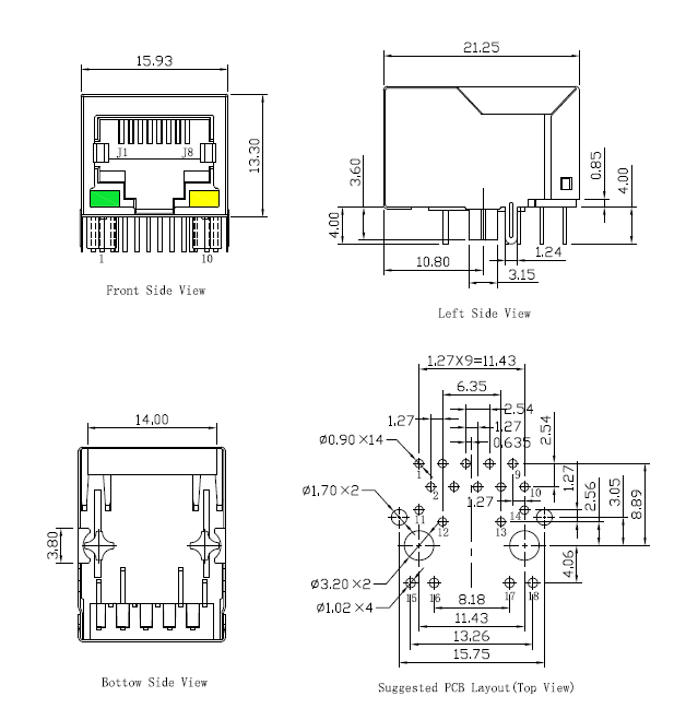 RJ45 connector with magnetic, gigabit, with LEDs and POE