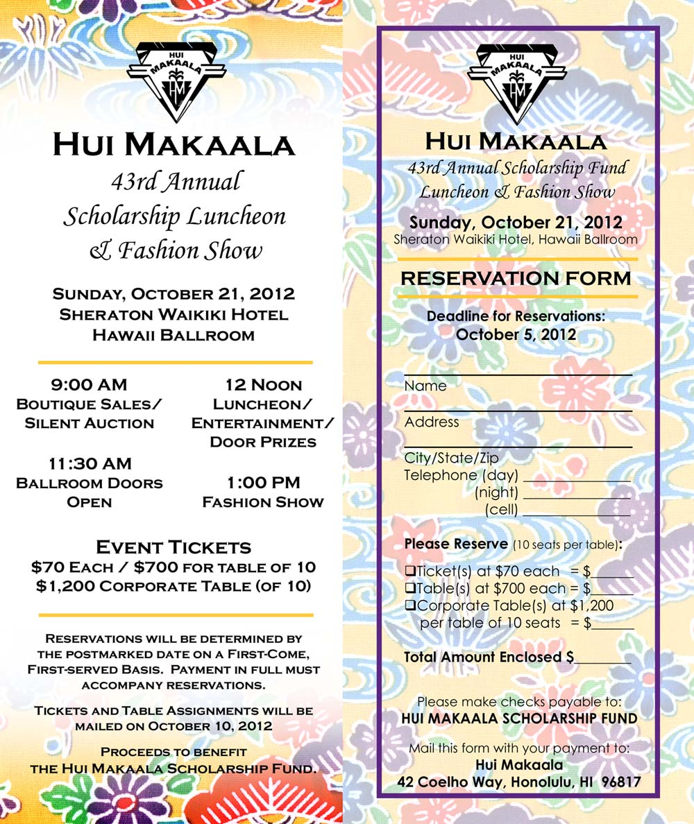 43Rd Annual Scholarship Fund Luncheon And Fashion Show Reservation Form