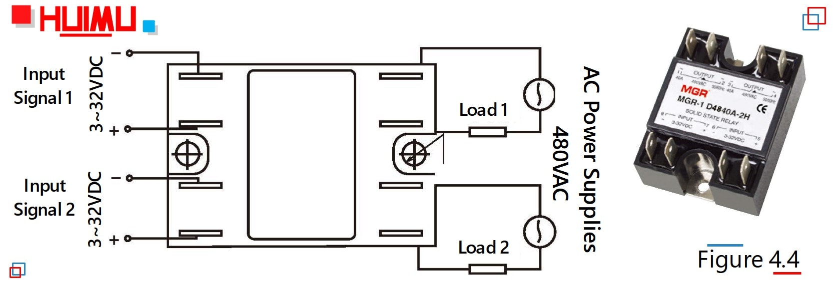 hight resolution of the picture and wiring diagram of single phase dual solid state relays