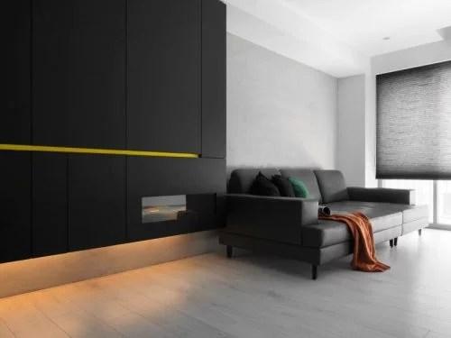 Modern appartement met zwart wit en geel  Huisinrichtencom
