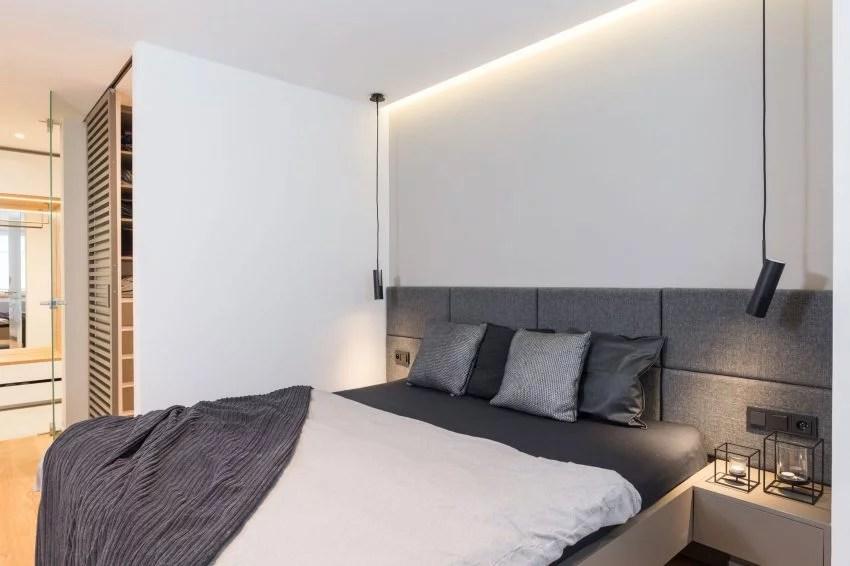 Modern slaapkamer ontwerp met grijs en hout  Huis