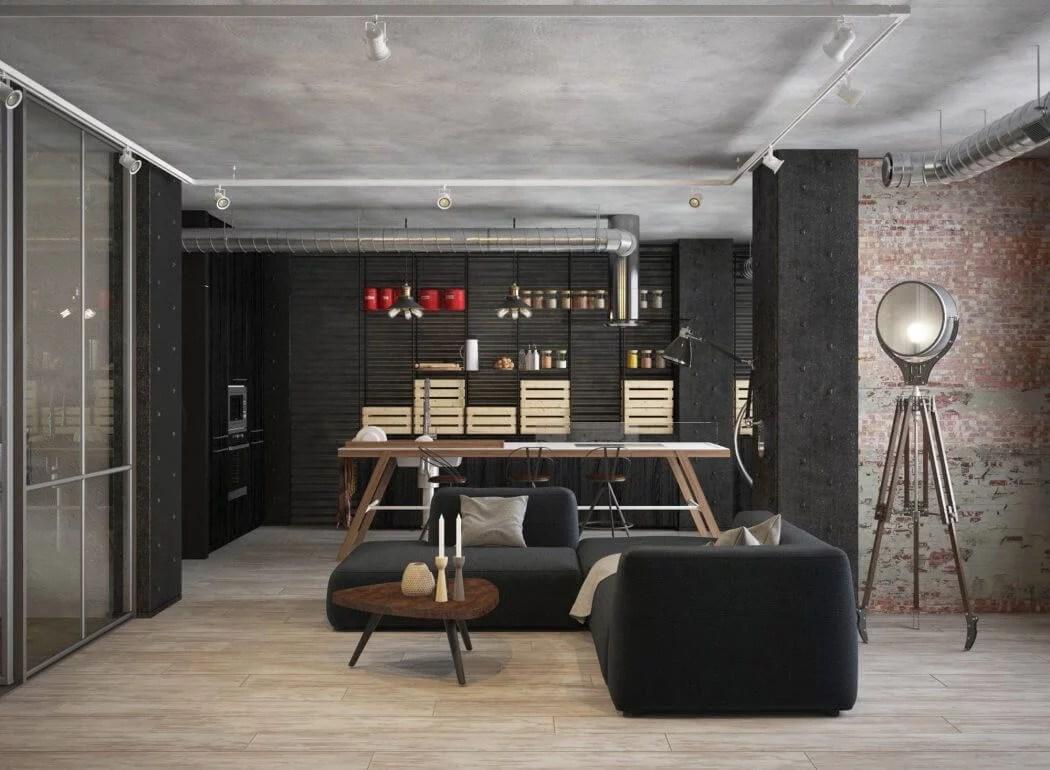Stoer interieurontwerp van een industrile woonkamer