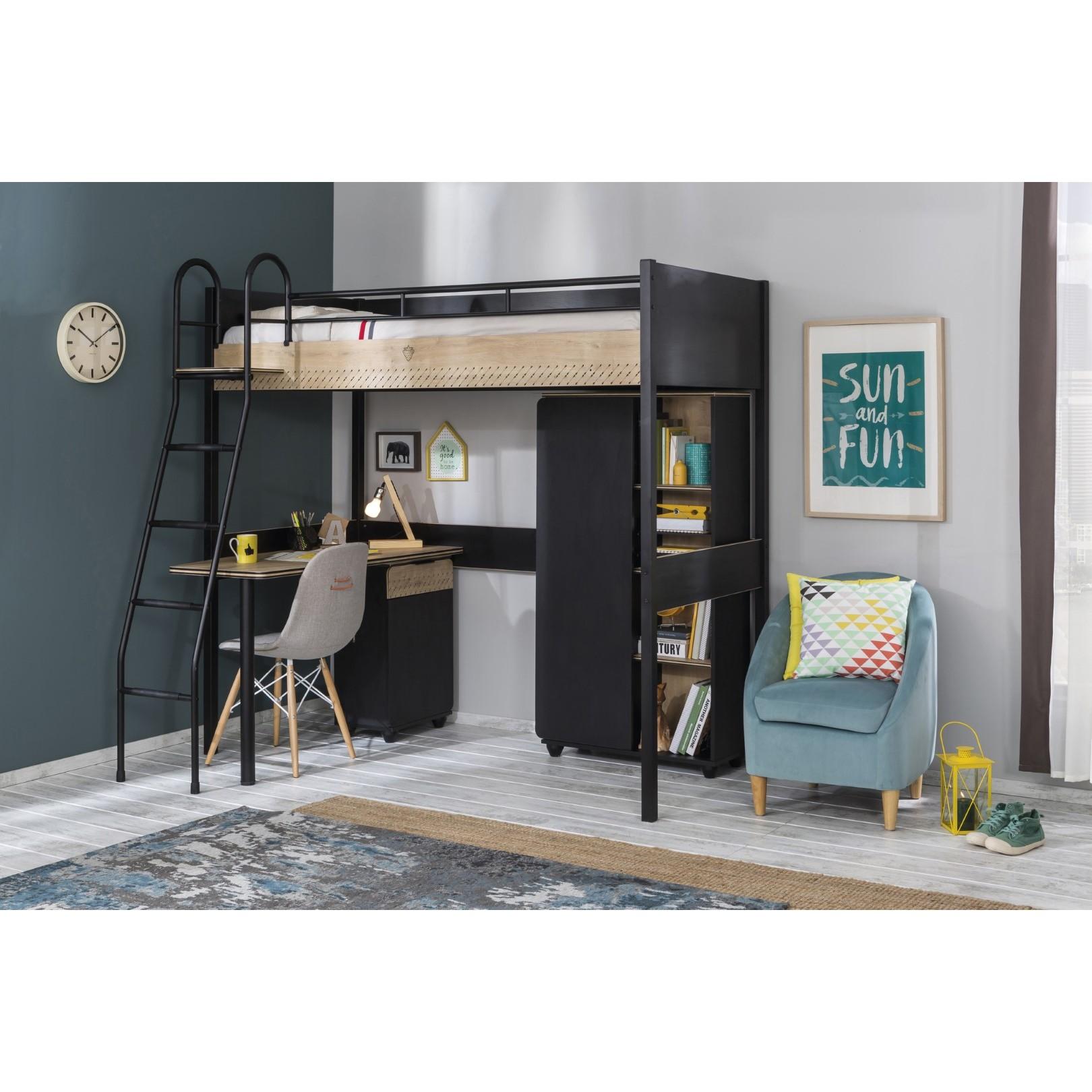 New York Compact hoogslaper zwart tienerkamer 190 x 90 cm