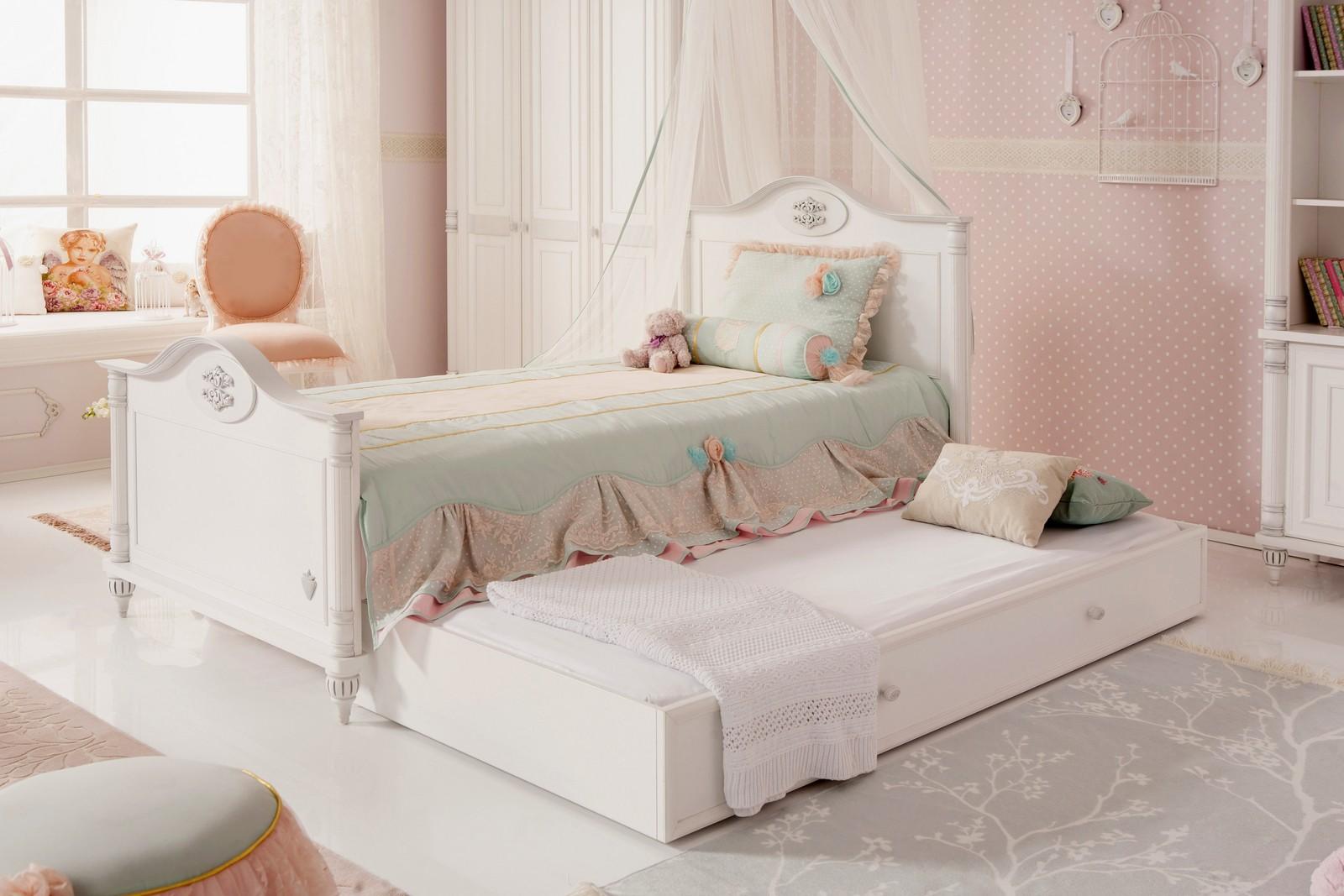 Romantic twijfelaar meisjes bed 200 x 120 Kinderkamer