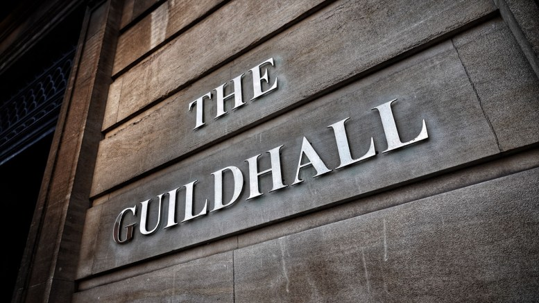 A sign outside The Guildhall in Hull