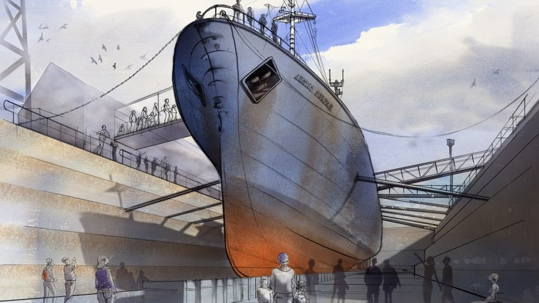 How the Arctic Corsair will look from the bottom of the dock at the North End Shipyard.