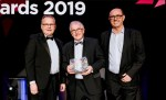 Graham Chesters, centre, at the REYTA Awards 2019, with Cllr Dave Craker, right, of Hull City Council and Cllr Richard Burton, leader of East Riding Council.