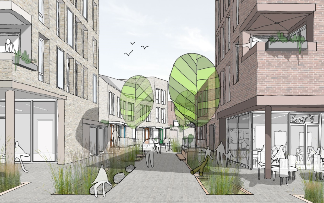 Harper Perry's winning design in the RIBA Living With Water competition featured pedestrian priority streets, soft-planted beds to hold water runoff and raised entrances to all houses.
