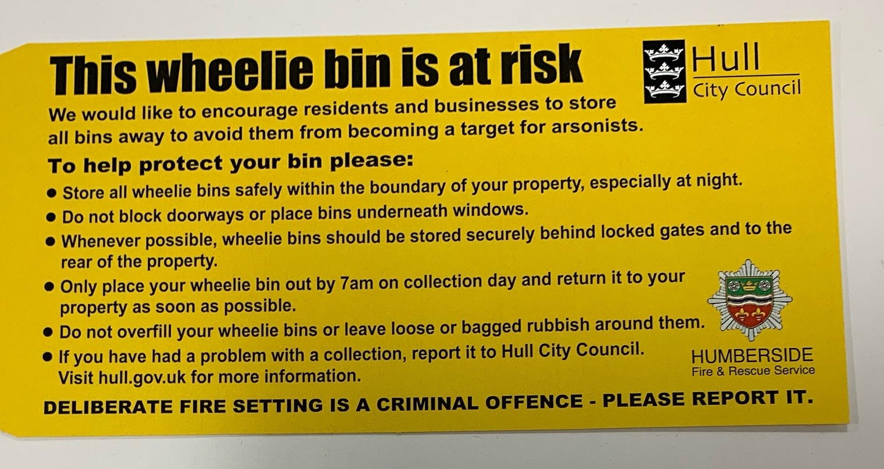 A wheelie bin risk tag
