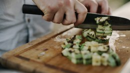 A chef chopping vegetables