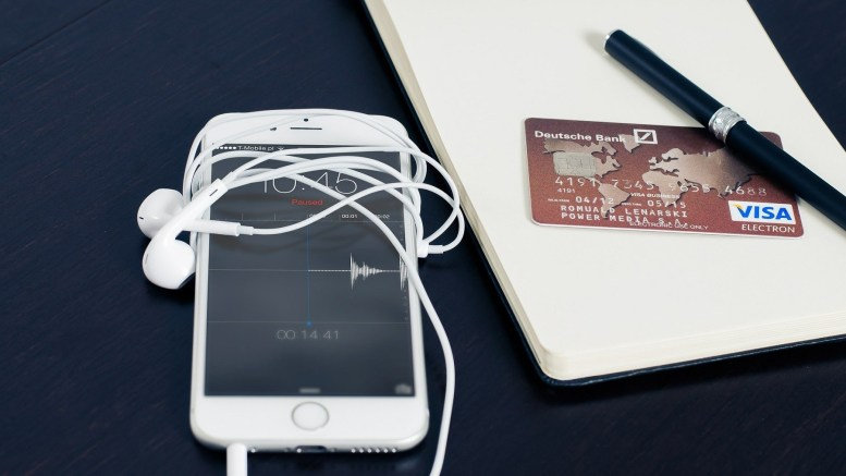 A phone and a credit card