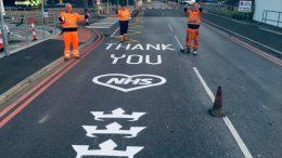 NHS road markings outside Hull Royal Infirmary
