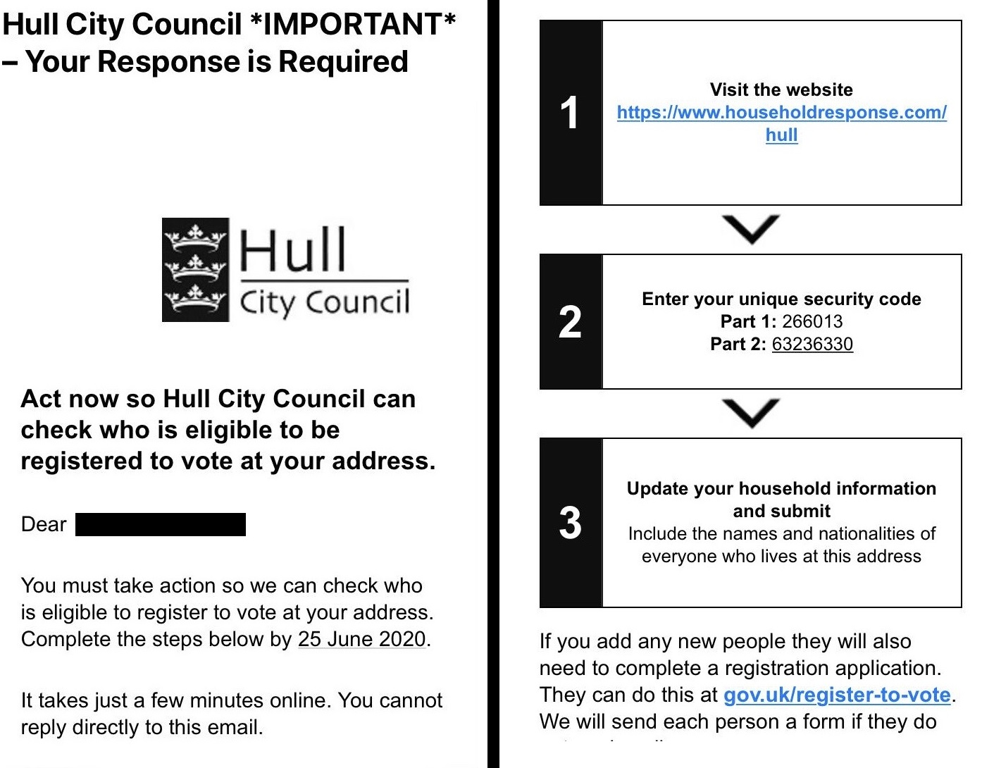 An email from the council's electoral services