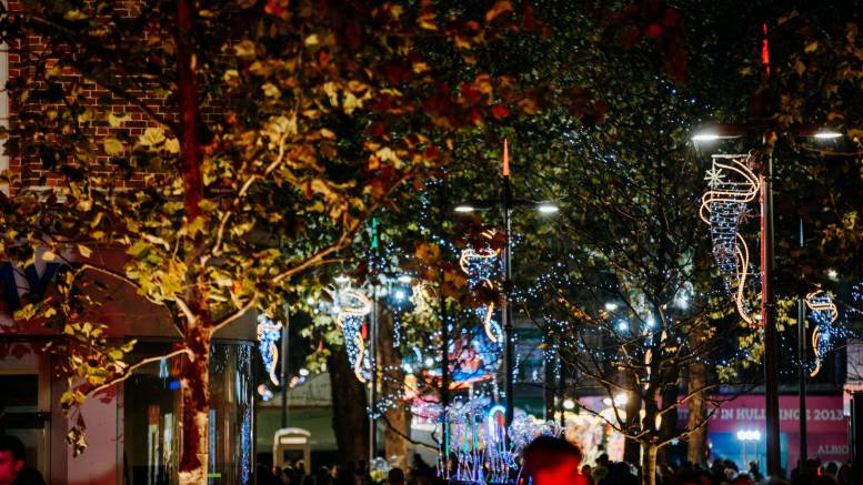 Christmas lights in Hull city centre