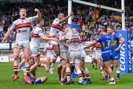 Bradford players are celebrating Mikey Wood's attempt at Leeds Rhinos