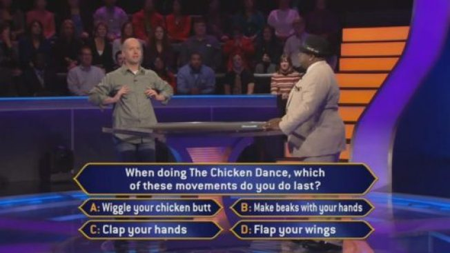 Fort Worth Financial Planner Jason Hull doing the Chicken Dance on Who Wants to be a Millionaire