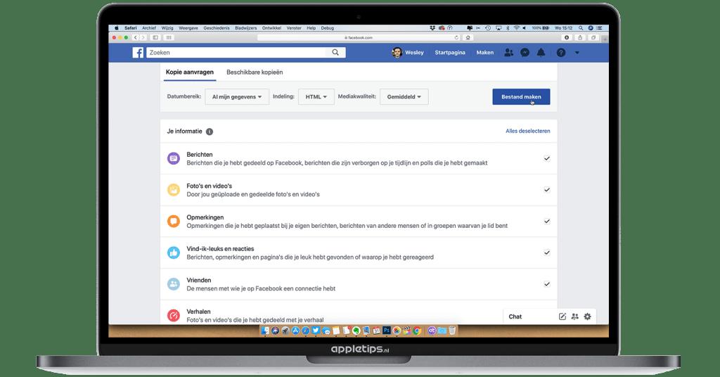Facebook-archief-downloaden