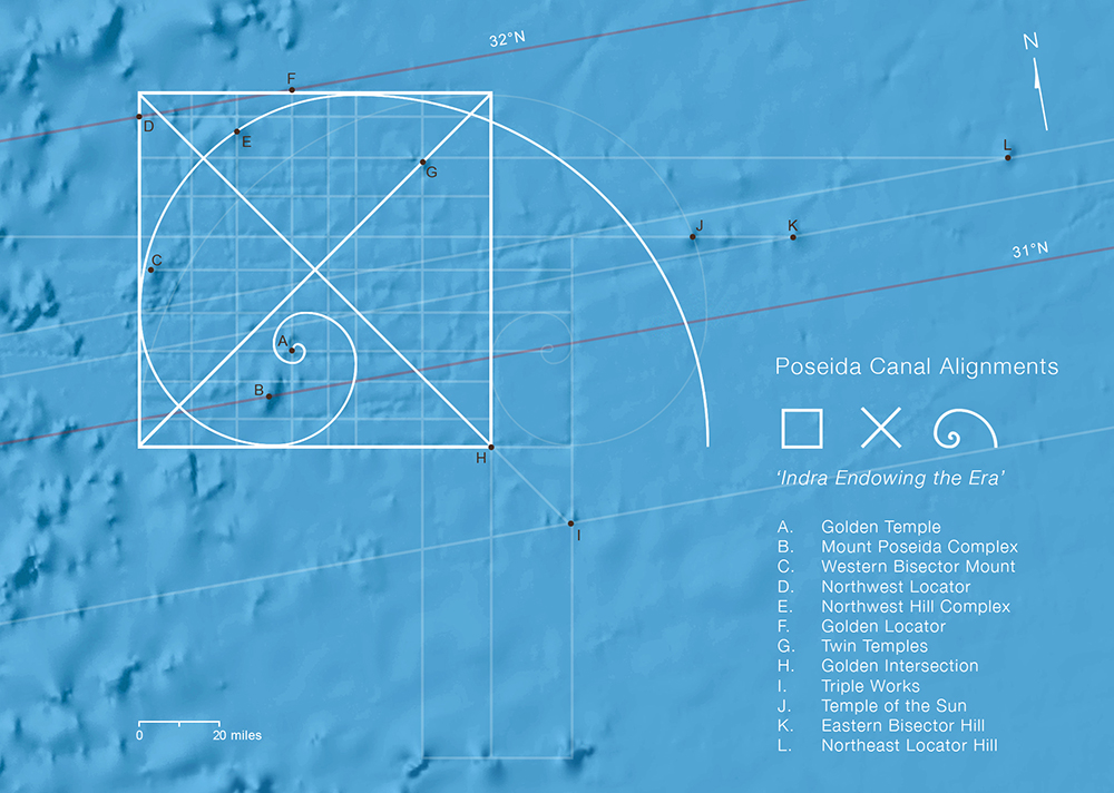 Fibonacci alignments of the Azores Pyramid and submerged city of Poseida Submerged6