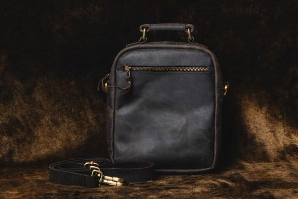 Black Leather Side Bag from Backside