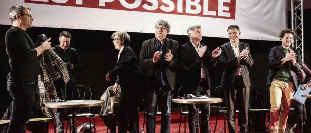 11 décembre 2019, meeting unitaire contre la réforme des retraites. De gauche à droite : Éric Coquerel, député FI, Fabien Roussel, secrétaire national du PCF, Olivier Faure, premier secrétaire du PS, et Julien Bayou, secrétaire national d'EELV. C. Bitton/Divergence