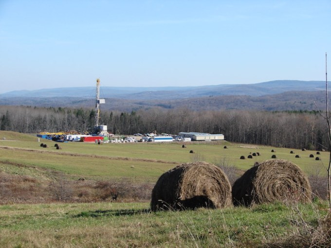 A view of a fracking operation from atop a hill in rural Pennsylvania