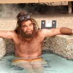 Caveman in a swimming pool