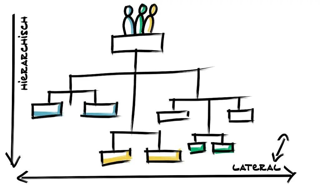 Organigramm Lateral vs Hierarchisch