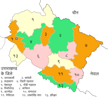 Divisions and Districts in Uttarakhand