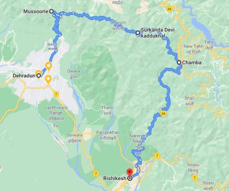 Siddhpeeth Maa Surkanda Devi Temple Road Map