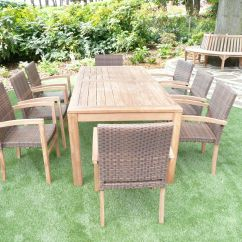 Teak Table And Chairs Garden For Affairs Melbourne Fl Cannes 8 Seater Rattan Patio Set Humber Imports