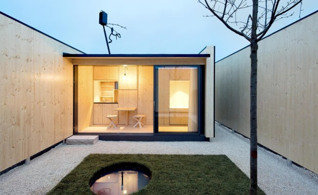 Micro Courtyard House A 75 Square Foot Tiny House Built